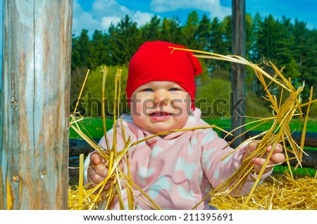 little baby in a straw - stock photo