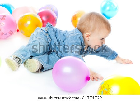 Little baby in balloons. Isolated on white background
