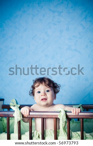 little baby in bed - stock photo