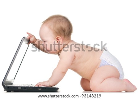 little baby is working on laptop, isolated on white background - stock photo