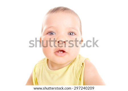 little baby isolated in white background - stock photo