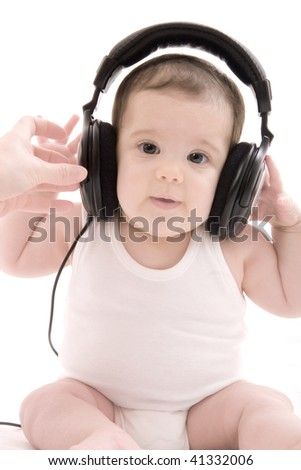 little baby listening music