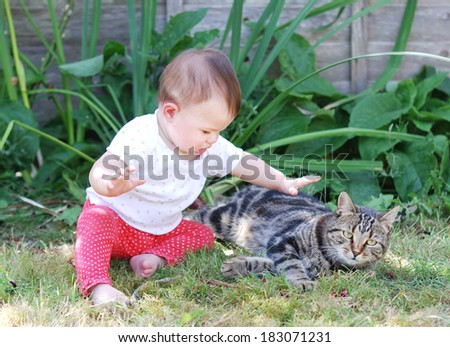 Little baby playing with a cat in the garden - stock photo
