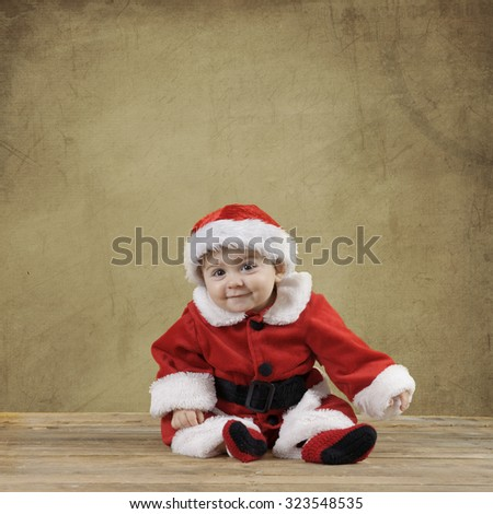 little baby santa boy, textured background