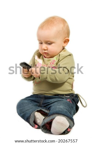 little baby with cellphone