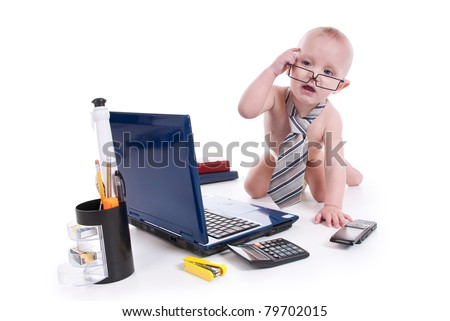 Little baby with laptop on a white background - stock photo