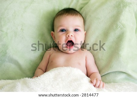 little baby with mouth open