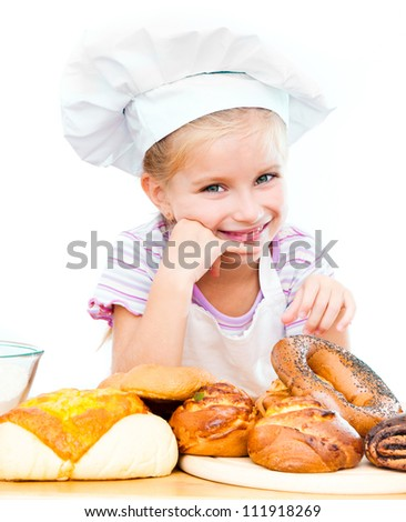 Little baker on a white background - stock photo
