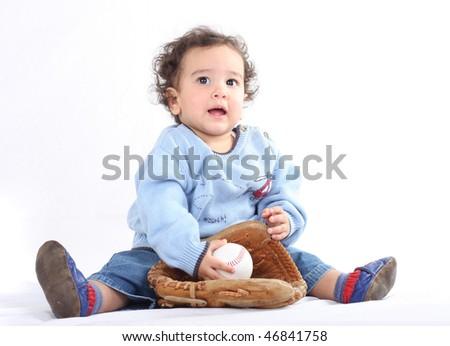 little baseball player on white - stock photo