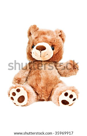 Little bear waving isolated on a white background - stock photo