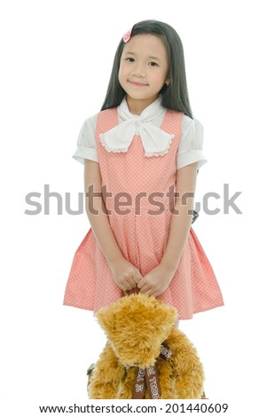 Little beautiful asian girl is smiling - stock photo