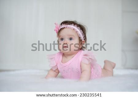 Little beautiful baby girl - stock photo