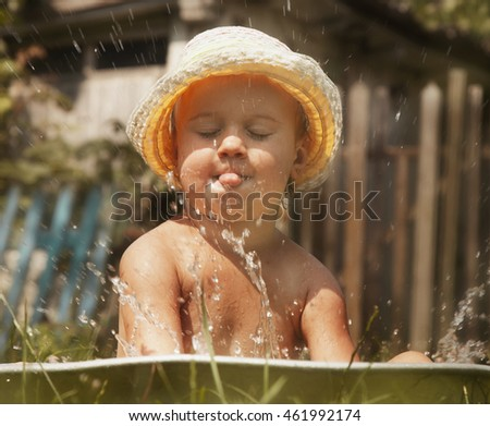 Little Beautiful Baby Girl Taking Bath Stock Photo (Royalty Free ...