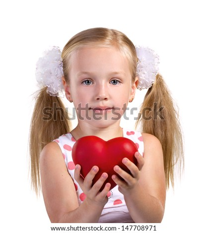 little beautiful blond girl with red heart in hands on white background  - stock photo