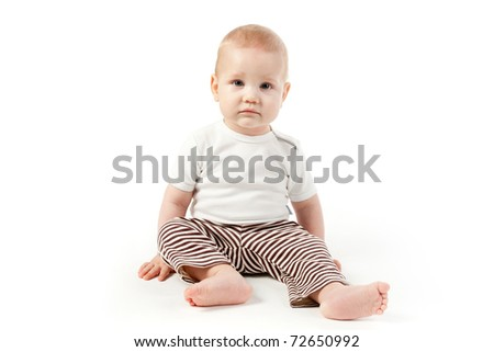 little beautiful boy isolated on white
