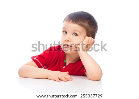 Little beautiful boy, isolated over white - stock photo