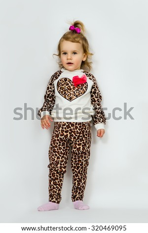 Little beautiful girl fashionista - stock photo