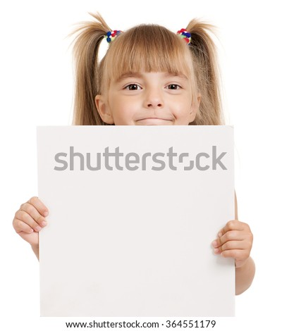 Little beautiful girl holding empty white board isolated on white background
