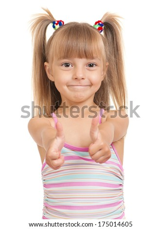 Little beautiful girl isolated on white background - stock photo