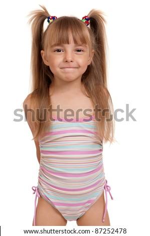 Little Beautiful Girl Wearing Pink Swimsuit Stock Photo ... - photo #18