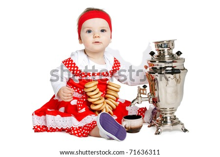 little beautiful girl with samovar on tea ceremony - stock photo
