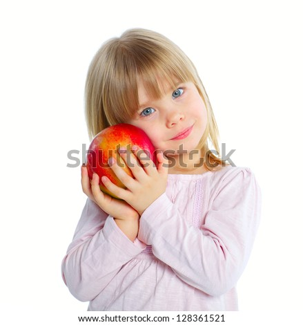 Little beauty girl holding big red apple. Isolated white background - stock photo