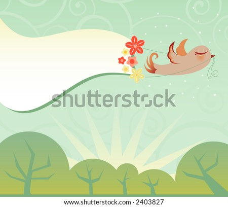 Little bird flies across the sky with a big flowered banner for your message -- muted colors and a fun retro style! - stock photo