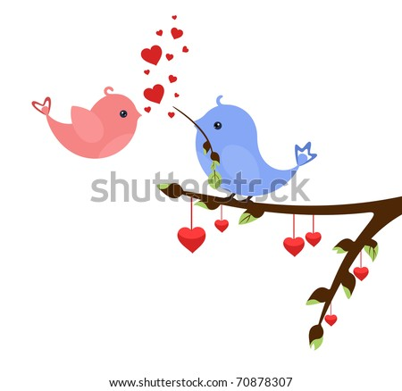 Little birds in love with hearts on early spring twig. Valentine's idea for Your design - stock photo