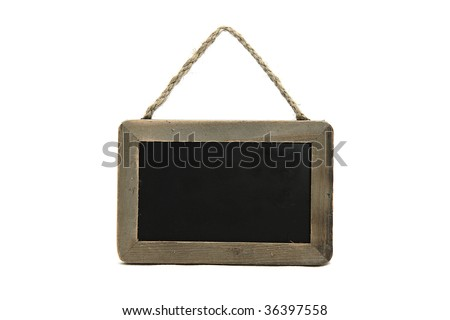 little black chalkboard on isolated background