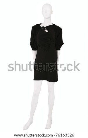 Little black dress and a cardigan dressed on a mannequin, isolated on white - stock photo