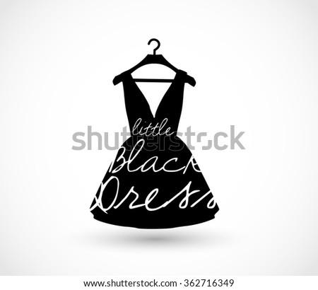 Little black dress on a hanger icon - stock photo