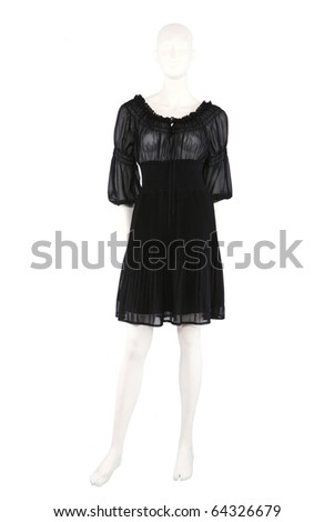 Little black dress on mannequin isolated on white - stock photo