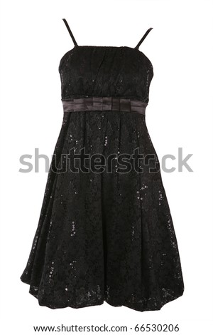 Little black dress with tinsel isolated on white - stock photo