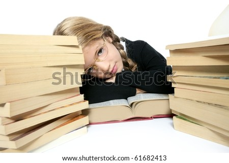 little blond bored student girl thinking relaxed on her books white background