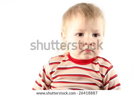 Little blond boy isolated on white background
