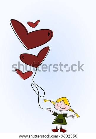 Little blond cartoon girl with heart-shaped balloons in her hand ... oh no, she has let them fly off! :) - stock photo