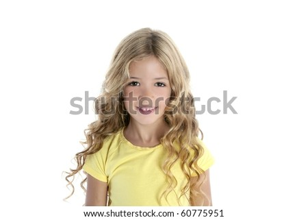 little blond girl portrait smiling - stock photo