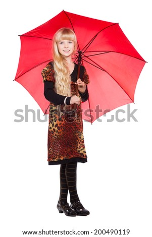 Little blond girl posing with red umbrella. Isolated on white - stock photo