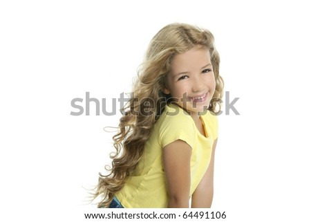 little blond girl smiling portrait yellow tshirt isolated on white background - stock photo