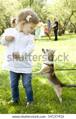 Little blond girl with dog in the park - stock photo