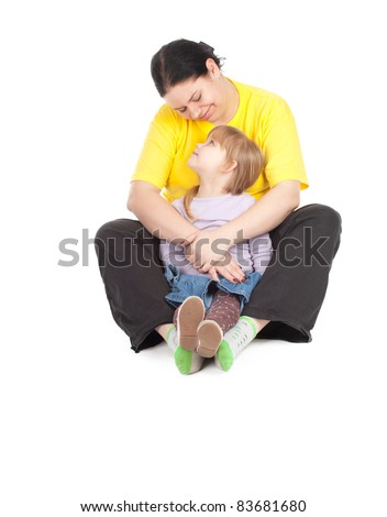 little blond hair girl with her fat mother - stock photo