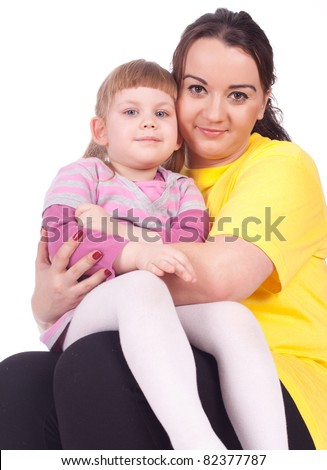 little blond hair girl with her mother - stock photo