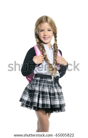 little blond school girl with backpack bag portrait isolated on white background - stock photo