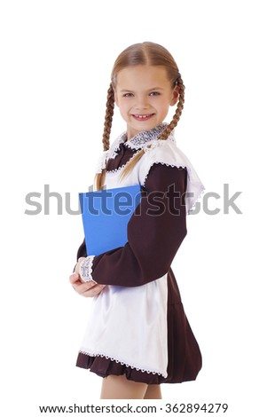 little blond school girl with blue book portrait isolated on white background - stock photo