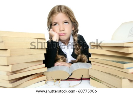 little blond student school girl thinking with stacked books - stock photo