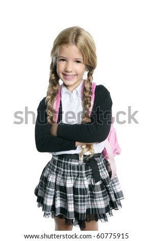 little blond student school girl  with bag - stock photo