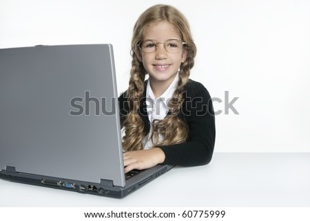 little blond student school girl with laptop - stock photo