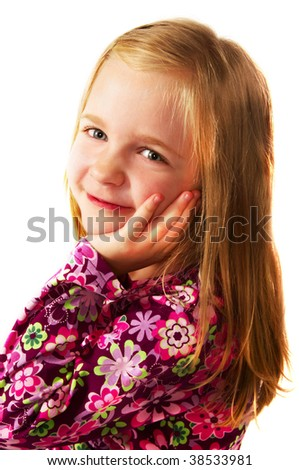 little blonde girl; closeup face - stock photo
