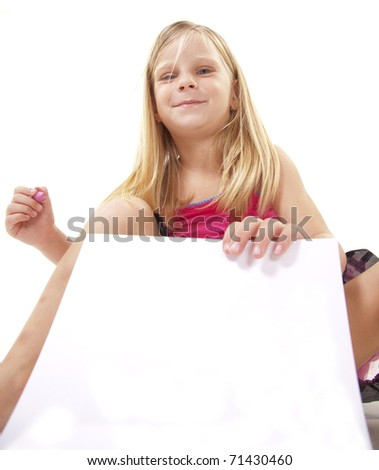 Little blonde girl holding crayon, on white, with paper for copyspace.