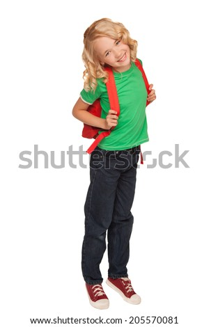little blonde girl in green t-shirt with red bag over white background - stock photo